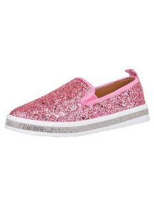 Damen Flache Freizeitschuhe mit Pailletten Komfortabel Mokassins,Farbe: Pink,Größe:40