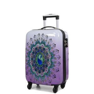 Koffer Mandala Hartschalen Rollkoffer Bordgepäck Lila 55 Bowatex