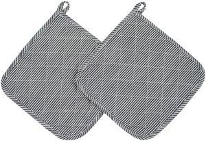 2er Set Topflappen aus Baumwolle, 24x24 cm, schwarz-weiß gestreift