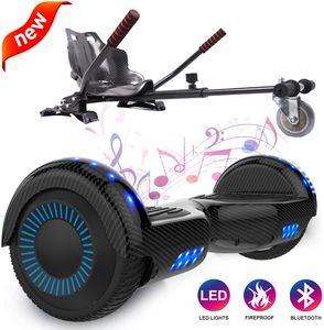 Hoverboard mit Hoverkart 6,5-Zoll-Selbstbalancierender Scooter mit Bluetooth-LED FLASH Elektroroller mit leistungsstarkem blinkenden Gyropod-Motor Neues Modell Spielzeug und Geschenk für Kinder