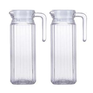 2 x Acryl Wasser Krug Saft Kanne Getränke Kanne Getränkespender Glaskrug