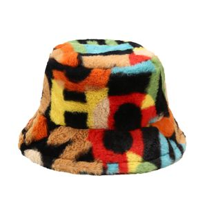 Mehrfarbiger Nummerndruck Fishman Bucket Basin Hat Winter Outdoor Plüsch Warme Kappe