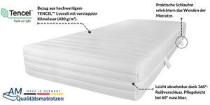 AM Qualitätsmatratzen | Premium 7-Zonen Taschenfederkernmatratze | 100x220 cm | H3 | Tonnentaschenfederkernmatratze | 100/220 | Federkernmatratze | Härtegrad H3 | 7 Zonen | 24 cm Höhe
