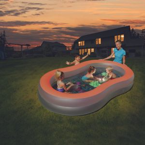 """Bestway Planschbecken Pool mit LED Taschenlampen Leuchtstifte Lichteffekte """"Doodle Glow"""", 280x157x46 cm"""