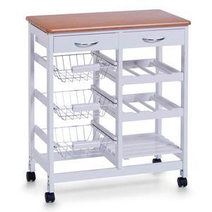 Zeller Küchenrollwagen, weiß/Holz-Dekor, MDF