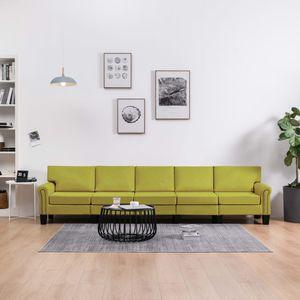 5-Sitzer-Sofa Grün Stoff Wohnlandschaft-Sofa Relaxsofa für Wohnzimmer Schlafzimmer Esszimmer