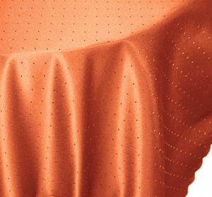 Tischdecke rund 135 cm Ø  terracotta Punkte bügelfrei fleckenabweisend
