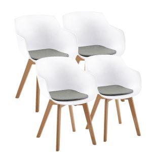 4er Set Weiß Esszimmerstühle Sessel Skandinavisch Wohnzimmerstuhl Modern mit Sitzkissen,Leinen,Grau