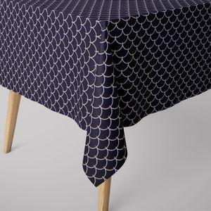 SCHÖNER LEBEN. Tischdecke Wellen dunkelblau weiß verschiedene Größen, Tischdecken Größe:130x200cm