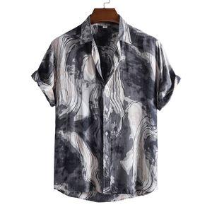 Herrenmode Blumendruck Revers Hemd Top Casual Kurzarm Hemd Mit Knopfleiste T-Shirt,Farbe: Grau,Größe:3XL