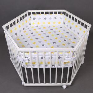 Laufgitter Laufstall 6-Eckig Baby Krabbelgitter inkl. Stoffeinlage 52304W-D01