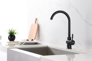 Auralum Wasserhahn Küche 360° drehbar Einhebelmischer Spültisch Armatur Küchenarmatur Spülbecken Mischbatterie, Schwarz