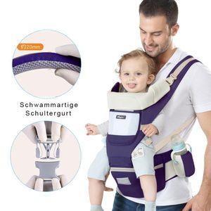 Ergonomische Babytrage, Kindertrage vorne und hinten, mit abnehmbarer Abdeckung, leicht zu tragen, blau