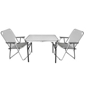 3tlg. Campingmöbel-Set Tisch 75x55cm + 2x Klappstuhl Hellgrau