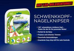 MAGIC CLIPPER - Schwenkkopf Nagelknipser - Maniküre - LED Beleuchtung - integrierte Feile - 150° schwenkbar - langlebige Edelstahlklingen - Easy-Gripp - für Rechts-und Linkshänder geeignet