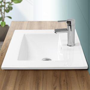 ECD Germany Waschbecken Waschtisch 610 x 465 x 175 mm Keramik Wei? Einbaubecken Einbauwaschbecken Waschschale Handwaschbecken Einbauwaschtisch Aufsatzwaschbecken Sp?lbecken Wasserfall Waschschl?ssel