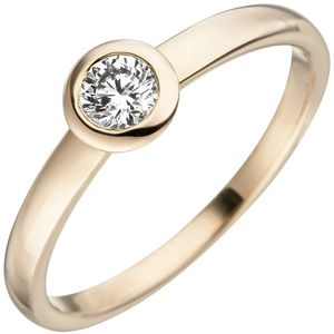 JOBO Damen Ring 54mm 585 Gold Gelbgold 1 Diamant Brillant Goldring Diamantring