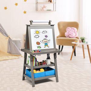 COSTWAY 3 in 1 Kinder Staffelei, Kindertafel doppelseitig, Whiteboard & Kreidetafel & Zeichenpapier, Standtafel inkl. Magneten, 2 Regalebenen Holztafel mit 2 Aufbewahrungsboxen (Grau)