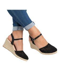 Damen Sandalen Wedge High Heels Runde Zehen Freizeitschuhe Erhöht,Farbe:Schwarz,Größe:41