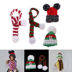2 Satz Puppe Weihnachten Mütze mit Strickschal Set Winter Outfit Zubehör Für 1/6 Monster High Doll
