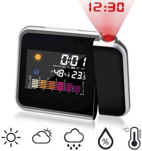 Wecker mit Projektion, LED Projektionswecker USB Aufladbar Digital Projektion Wecker/Taktgeber Temperaturanzeige/Hygrometer/Uhrzeit & Datumsanzeige/LCD Displaybeleuchtung/LED Backlight/Snooze schwarz