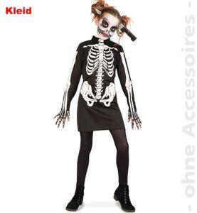 Kinder Kostüm Zombie Skelett Kleid Halloween Karneval Gr.164