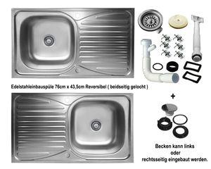 Einbauspüle 76cm x 43,5cm Küchenspüle reversible Edelstahl Spülbecken 1 Becken mit Abtropffläche