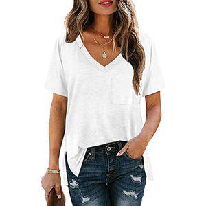 Damen Lässige Einfarbiges V-Ausschnitt kurzärmeliges T-Shirt,Weiß,XL