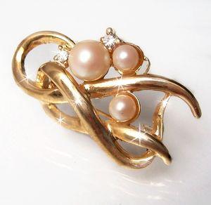 B77729 Brosche gold Perlen weiss Modechmuck Damen neu