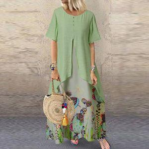 Frauen Vintage Fake zweiteiliges Kleid Blumendruck Kurzarm O-Ausschnitt Langes Kleid Größe:XXXL,Farbe:Grün