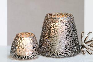 Casablanca Windlicht/Kerzenständer -Purley - Metall - Farbe: antik-silber - Ø 14 cm 54956