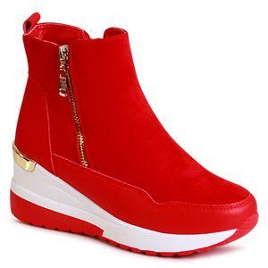 topschuhe24 2188 Damen Keilabsatz Stiefeletten, Farbe:Rot, Größe:39 EU