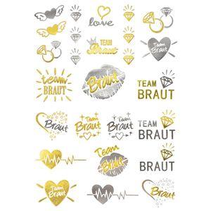 Oblique Unique Temporäre Klebetattoos Tattoo Set Junggesellinnenabschied JGA gold silber