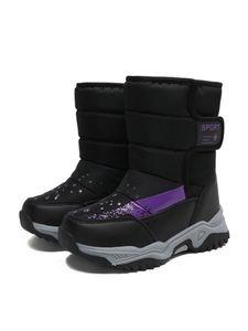 Kinder Jungen Und Mädchen Neue Schneestiefel Klett Rutschfeste Stiefeletten Warme Weiche Stiefel,Farbe: Schwarz,Größe:36
