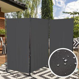 Wolketon Paravent Spanische Wand Zimmer Trennwand Outdoor 3 fach Raumteiler Raumtrenner Anthrazit