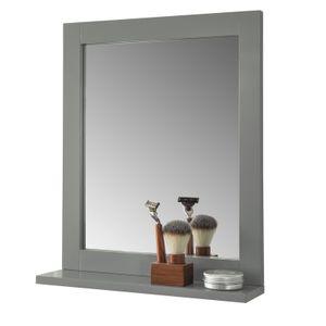 SoBuy FRG129-SG Spiegel Wandspiegel Badspiegel mit Ablage stahlgrau BHT: 40x50x10cm