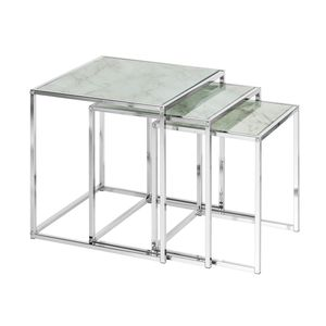 Design Beistelltisch 3er Set ELEMENTS 40cm weiß Glasplatten in Marmoroptik Satztisch Wohnzimmertisch Couchtisch