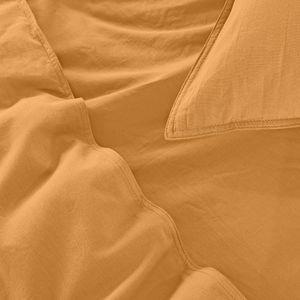 WOMETO Kissenbezug Renforce Stone-Washed 80x80 cm 100% Baumwolle - gelb senfgelb curry weich modern Used-Look Leinen-Optik
