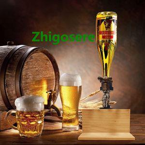 Whisky Dekanter Schnaps Spender mit Holz Ständer, Vatertag, Alkohol, Whisky, Holzspender, Wasserhahnform für Partyessen 10 * 20 * 23cm