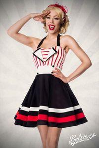 Retro Neckholder-Kleid, Farbe: Rot/Weiß, Größe: S