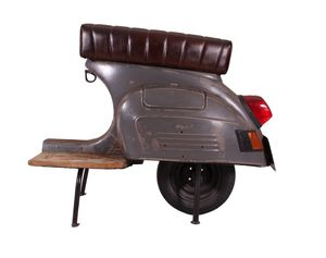 SIT Möbel Barhocker   recyceltes Roller-Heck   Sitz Kunstleder   Gestell Metall anthrazit   B 110 x T 53 x H 88 cm   01054-15   Serie THIS & THAT