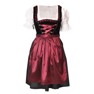 Dirndl 3 tlg.Trachtenkleid Kleid, Bluse, Schürze, Gr. 34-46 schwarz rot Samt 38