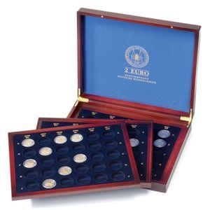 Leuchtturm Münzkassette VOLTERRA TRIO für 2 Euro Gedenkmünzen Sammelbox Holz