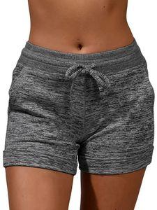 Frauen Sport Shorts Beiläufig Strand Sommer Laufen Gym Yoga Hot Pants Kurze Hose,Farbe:Dunkelgrau,Größe:M