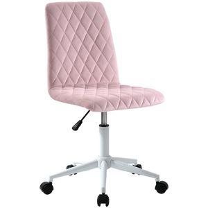 ModernLuxe Bürostuhl Samt Schreibtischstuhl Drehstuhl Chefsessel aus Stoff, höhenverstellbar Rollhocker Computerstuhl Arbeitsstuhl für Wohnung und Büro, Rosa