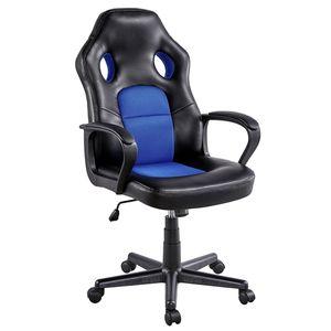 Yaheetech Bürostuhl, ergonomischer Drehstuhl, Gamingstuhl mit gepolsterte Armlehnen, Computerstuhl Racing Chair mit Wippfunktion, Schreibtischstuhl Kunstleder