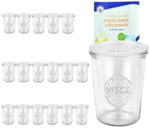 18er Set Weck Gläser 850ml, 3/4L Sturzgläser mit 18 Glasdeckeln inkl. Diamant Rezeptheft