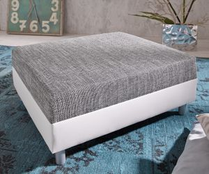 DELIFE Sofa-Hocker Clovis Weiss/Hellgrau Modul B98 x T83 Strukturstoff Sitzhocker