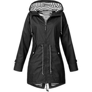 Schwarz Damen Overcoat Regenjacke Parka Kapuzenpullover Windjacke Wasserdicht Windjacke Größe S