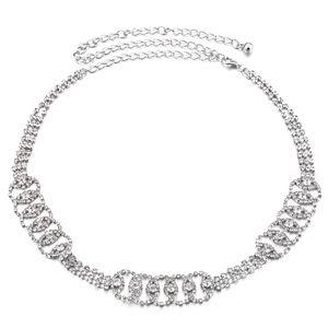 Diamante drei Reihen Runde Schmuckkristallrhinestones Metall-Kette Gürtel